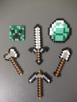 Minecraft set made of fuse beads by capricornc5
