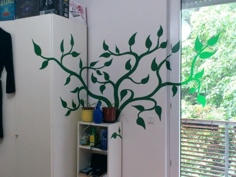 Wild growth in my room (Wall painting) by AbyssalEmissary