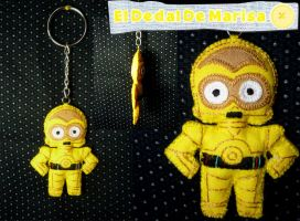 Star Wars C3 PO Keychain by MrsSewing