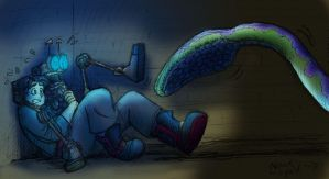 Giant Space Squid attacks by queenbean3