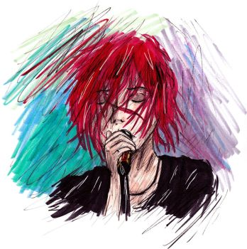 Sing - Gerard Way drawing by LizChwan