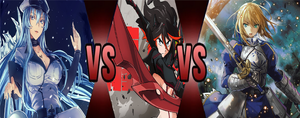 Esdeath Vs Ryuko Vs Saber by hicbar