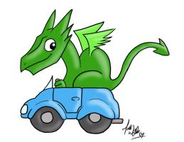 Cartoon Dragon in a car by zones-productions