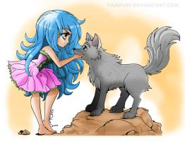 Chibi with Wolf - Colored by duplex2