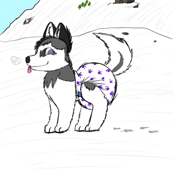 Diapered Husky by Mewzy148