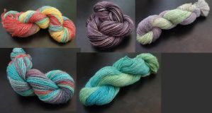 I recently hand painted a bunch of yarn :D by Tessa4244