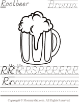Mommysbiz | R-Rootbeer-Brown Preschool Worksheet by DanaHaynes
