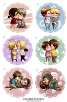 Hetalia Chibi Couples Set by Kuolema-Hochrot