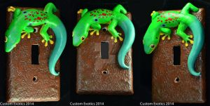 Polymer Clay Peacock Day Gecko Light Switch Plate by CustomExotics