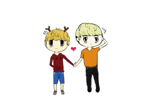 Hunhan Chibi ~colored~ by kkaotikkaeb