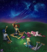 angels and a starry sky by arielfairy