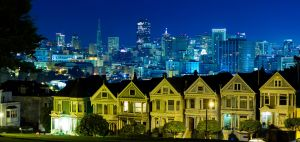 Painted Ladies and the SF Skyline by thevictor2225