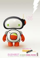 Sushibot Loves You by pezbananadesign
