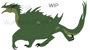 Draggy. WIP drawing, final design. by Mossasaurus