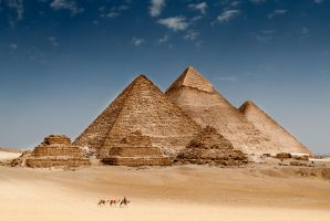 Pyramids at Giza by wolfgatephotography