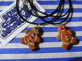 Gingerbread Men Necklaces by tyney123
