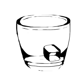 Glass Cup w/ Ice Cube by JesterKatz