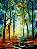 Forest Mistery by Leonid Afremov by Leonidafremov