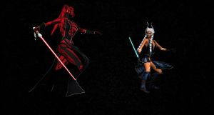 Darth Talon and Ahsoka Battle by Ukiandre