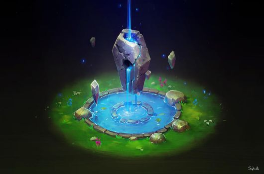 Isometric Ancient Fountain | video by Sephiroth-Art