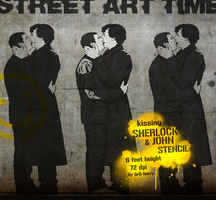 kissing John and Sherlock Stencil by br0-Harry