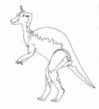 Tsintaosaurus-line art by imaginationhaven