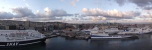 Sunset over Naples Cruise Terminal 2 by rbompro1