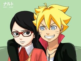 Boruto and Sarada by KaburagiKotetsu