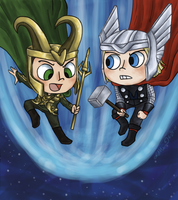 Thor and Loki by katribou