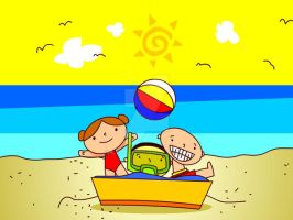 Kids at the Beach by aydap