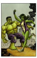 Hulk vs She Hulk by RamonVillalobos