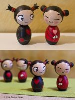 Pucca Inspired Kokeshi Dolls by ZanetaGc