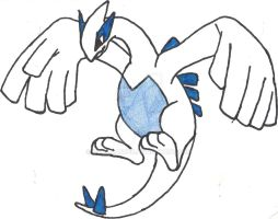 Lugia Sketch, Redone (Coloured) by CoolMan666