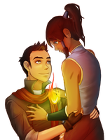 Korra and Mako by lane-nee-chan