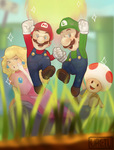 Mario and the crew ! by VactuART