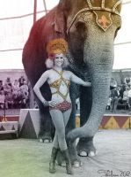 Circus Lady with Elephant by Thelema001