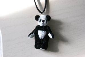 Little Puffy Panda Necklace by MonsterBrandCrafts