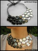 Black and White Gem Necklace by Natalie526