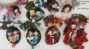Polymer clay cameo pendants by elvira-creations
