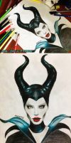 Maleficent Angelina Jolie -Colored Pencils + VIDEO by Amana-Jackson