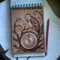 Instaart - Owl on Clock by Candra