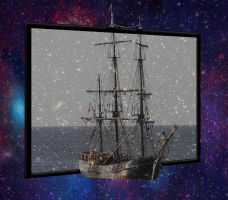 Pirate Ship going to Space by espeon10