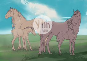 |YHH closed| mare and foal by MUSONART