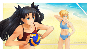 F/SN:Rin and Saber by Tirass