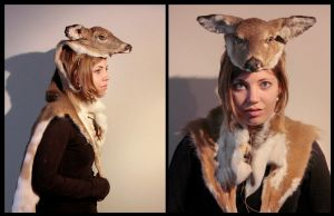 Piebald Deer Fawn Headdress by NaturePunk