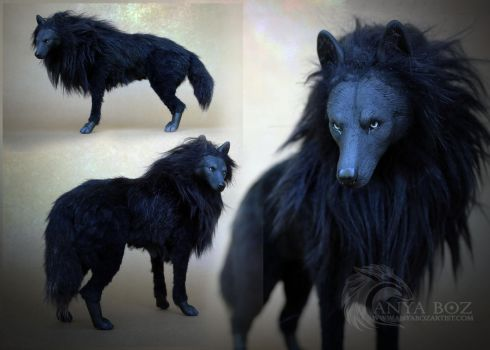 Onyx Wolf Room Guardian (FOR AUCTION) by AnyaBoz