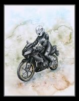 Czarna and her Honda CBR. Watercolor. by czajka