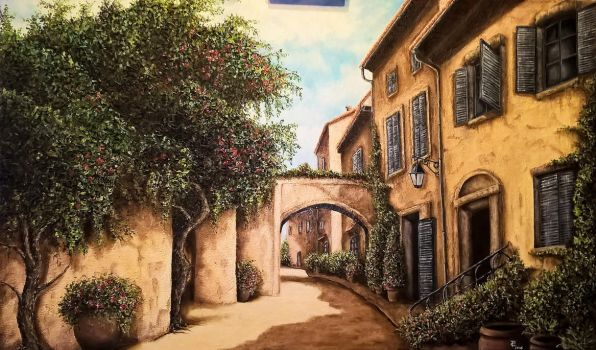 Old Village oil on canvas 100x60 cm by Inspektore