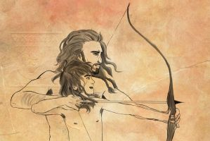 Thorin and Kili - Bowshooting by vixenkiba