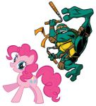 Michelangelo and Pinkie Pie by DinobotEd